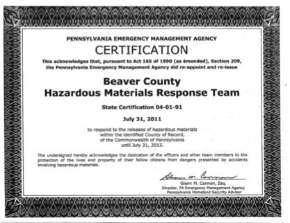 Beaver County Hazardous Materials Response Team State Certification